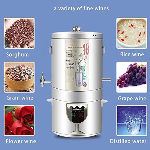 YUEWO 5-15L Multi-Function Alcohol Distiller + Fermenter DIY Home 220V Moonshine Ethanol Wine Maker Copper Stainless Steel B by YUEWO (Image #2)