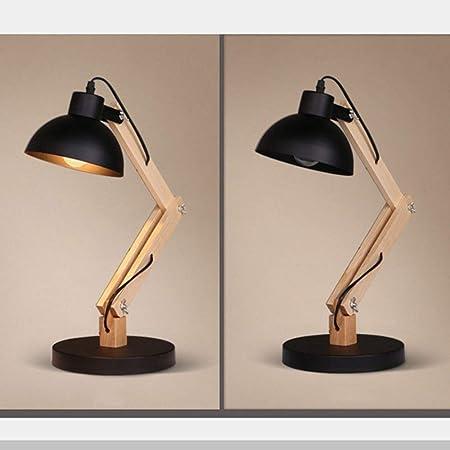 Escritorio Lámpara LED abeja nórdica de madera dormitorio ...