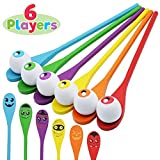 Halloween Egg and Spoon Race Game Set; 6 Eyeballs and Spoons with Assorted Colors for Kids and Adults Halloween Outdoor Fun Games, Party Favor Supplies, Classroom Activities