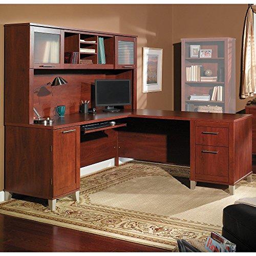 Hansen Cherry L-desk - Bush Furniture Somerset 71W L Shaped Desk with Hutch in Hansen Cherry