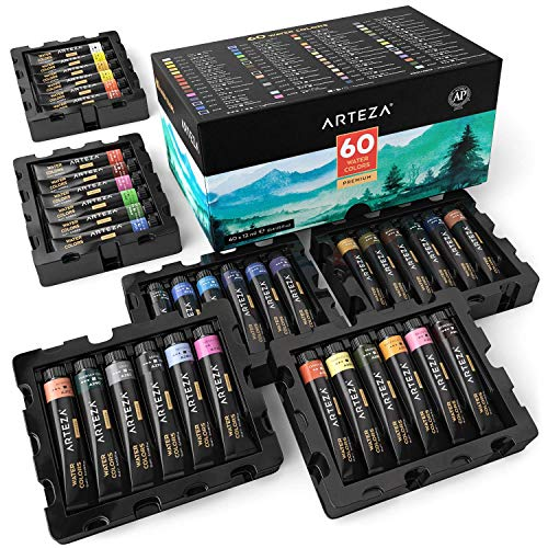 (ARTEZA Watercolor Paint, Set of 60 Colors/Tubes (12 ml/0.4 US fl oz) with Storage Box, Rich Pigments, Vibrant, Non Toxic Paints for The Artist, Hobby Painters, Ideal for Watercolor)