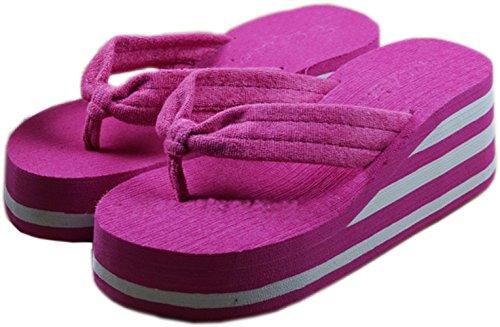 Bettyhome Vrouwen Hoge Hakken Regenboog Comfortabele Teenslippers Casual Wiggen Sandalen Strand Slippers Slipper (6 B (m) Us = Eur 37, Rose)