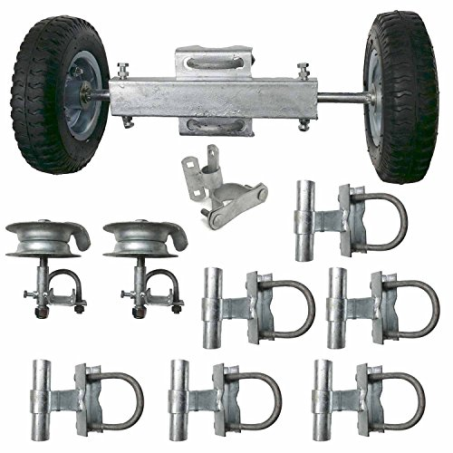 ALEKO Gate Kit #2 Rolling Gate Hardware Kit Chain Link Rolling Gate Guides Rollers Track (Post Mount Gate Latch)