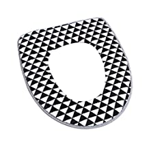 Freahap Toilet Seat Cover Bathroom Soft Warmer Thicken Pads Black