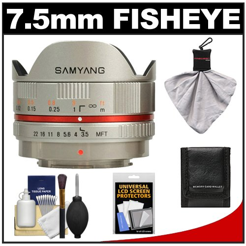 Samyang 7.5mm f/3.5 UMC Fisheye Manual Focus Lens (Silver) with Accessory Kit for Micro 4/3 Olympus Pen E-PL1, E-PL2, E-Pl3, E-PM1, E-P3, OM-D E-M5 Digital Camera