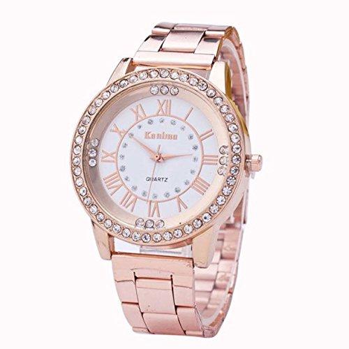 h Women's Men's Crystal Rhinestone Stainless Steel Analog Quartz Wrist Watch Valentine's Day Gift (Rose gold) ()