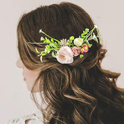 (Fangsen Silver Wedding Rose Flower Hair Comb Bridal Headpiece Woodland Hair Accessories for Brides and Bridesmaids)