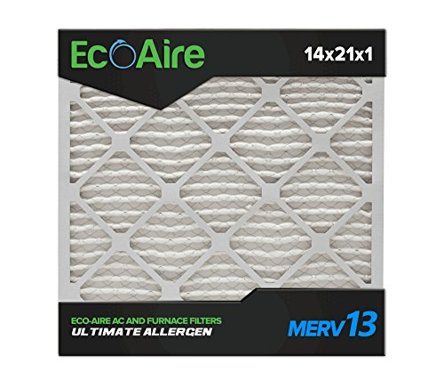 Eco-Aire 14x21x1 MERV 13, Pleated Air Filter, 14x21x1, Box of 6, Made in the USA