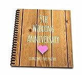 3dRose db _ 154433_ 25th aniversario de boda de regalo madera celebrando 5años Together quinta aniversarios cinco años libro de recuerdos, 12por 30.5cm