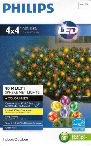 LED 4' X 4' Net Lights (90 Multi Sphere Net Lights 6 Colors) Green Wire