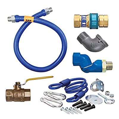 "Dormont 1650KITS72 Deluxe SnapFast® 72"" Gas Connector Kit with Swivel MAX®, Elbow, and Restraining Cable - 1/2"" Diameter"