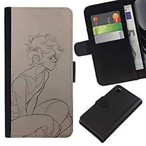 Be-Star la tarjeta de Crédito Slots PU Funda de cuero Monedero caso cubierta de piel Para Sony Xperia Z3 D6603 ( Sketch Boy Profile Art Portrait Drawing Pencil )