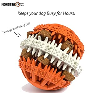 "Dog Treat Ball - ""Lifetime Replacement Guarantee"" - Interactive Puzzle Dog Food Ball for Keeping Dogs/Puppies busy, Puzzle Toy for Active Mental Stimulation and IQ, Dental Treat Ball for dog's health"