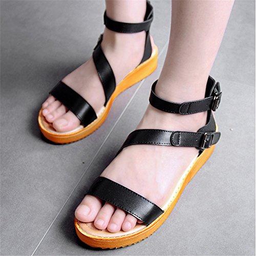XZGC - Sandalias de vestir de poliuretano para mujer negro