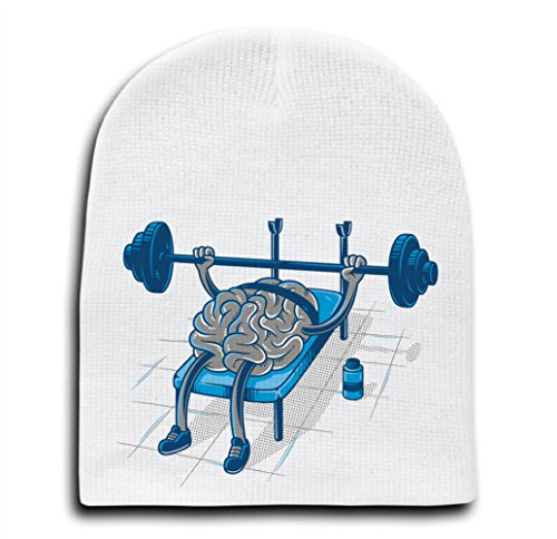 Brain Training - White Adult Beanie Skull Cap Hat -