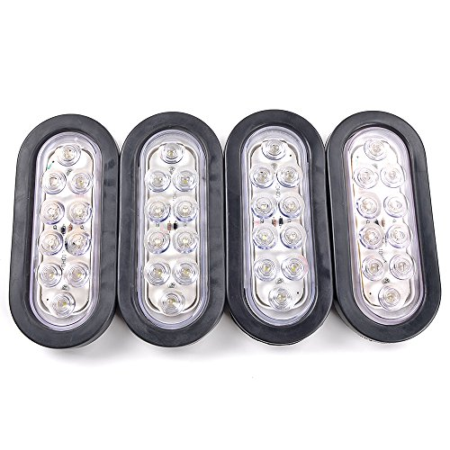 - 4pcs Bright White 6000K Oval 10 LED Clear Lens Backup Reverse Light Grommet Plug Car Truck Trailer RV UTE UTV Van