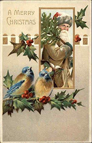 A Merry Christmas, With Santa, Bluebirds, and Holly Santa Claus Original Vintage (Bluebird Santa)