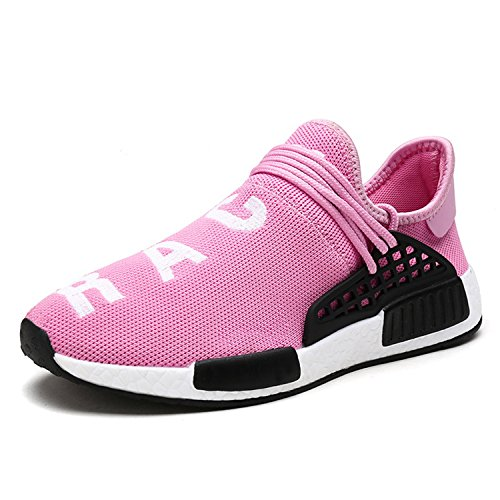 Mens Womens Unisex Lightweight Fashion Sneakers Breathable Lace-up Athletic Sports Shoes Human Race Casual Running Shoes (Women 7 D(M) US / Men 6 D(M) US, Pink) For Sale