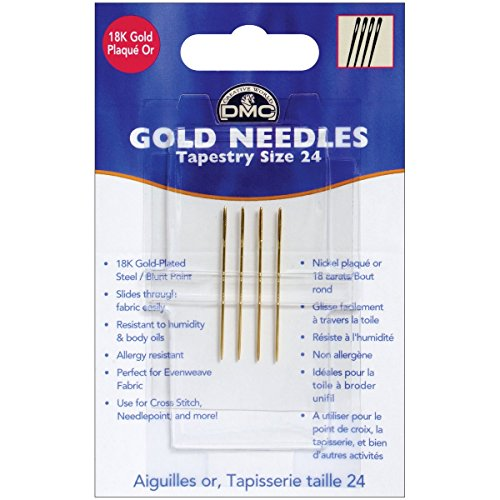 Gold Tapestry Hand Needles-Size 24, 4/Pkg (Renewed)