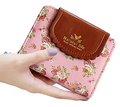 SeptCity Womens Small Wallet Cute Floral Soft Leather Coin Purse, Gift for Her 4070( Pink) - Pink Floral Wallet
