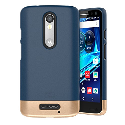 Motorola Droid TURBO 2 Case, Encased (SlimSHIELD Edition) Ultra Slim Cover (full coverage) Hybrid Slider Shell (Deep Blue) (Hardshell Slim Ultra)