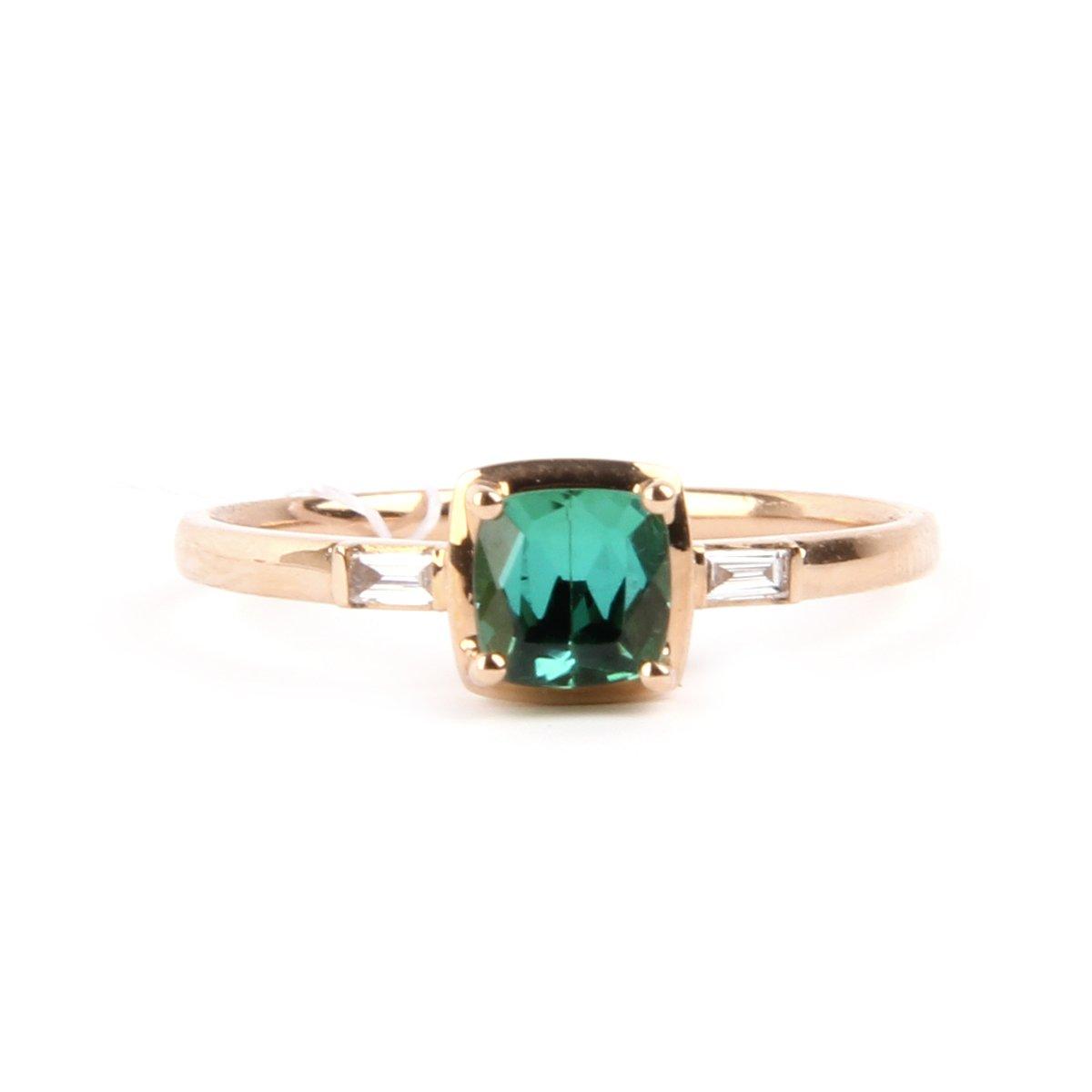 Unique Green Tourmaline with diamond 18K Gold Fine Ring