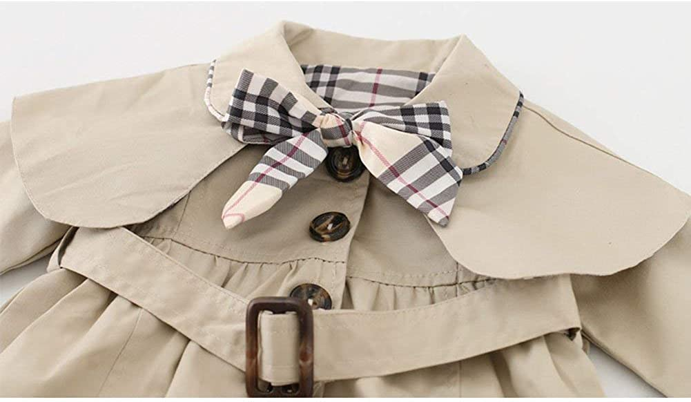 Toddler Baby Girls Bowknot Trench Coat with Belt Princess Autumn Windbreaker Jacket Outwear