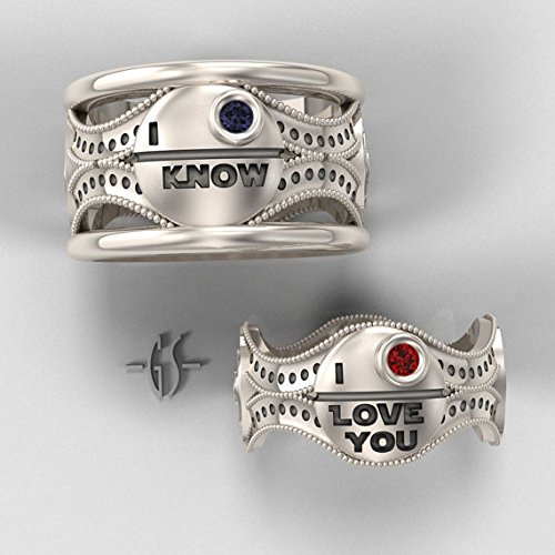 - Valentine Gift Couple Him His Her Star Wars I Love You I Know 925 Sterling Silver Blue Sapphire Ryby Love Men Women Engagement Wedding Ring Set,All US Size available,Message us your Ring Sizes