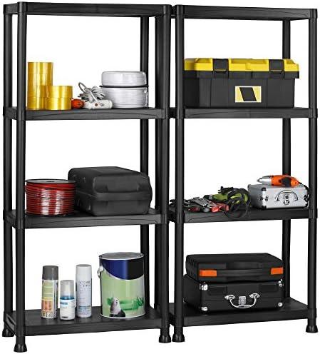 VonHaus 4 Tier Garage Shelving UnitWall Brackets (Pack of 2) - Black Plastic Interlocking Utility Storage Shelves - Each Unit: 52 x 24 x 12 inches