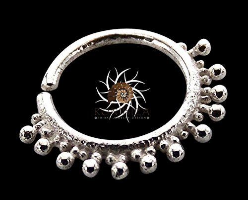 Silver Nose Ring - Silver Nose Hoop - Indian Nose Ring - Tribal Nose Ring - Nose Jewelry - Nose Piercing - Tiny Nose Ring - Nostril Ring - Nostril Jewelry - Piercing Jewelry (NL5S)