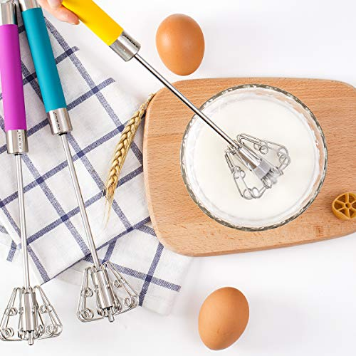 Choppan Egg Whisk Milk Frother Cake Mixer Hand Blender Push Stainless Steel Whisking Tool Egg Beater, Yellow, One Size