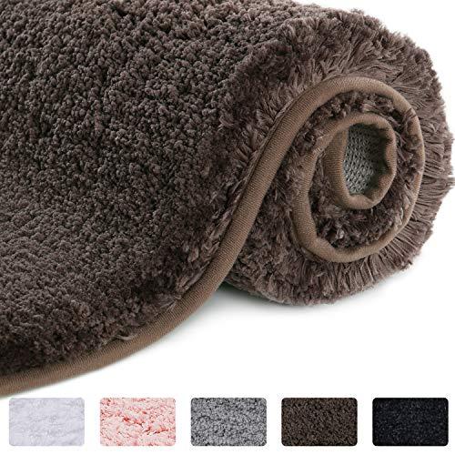 Lifewit Bathroom Rug Bath Mat Non-Slip Rubber Microfiber Soft Water Absorbent Thick Shaggy Floor Mats, Machine Washable, Brown,32″x20″
