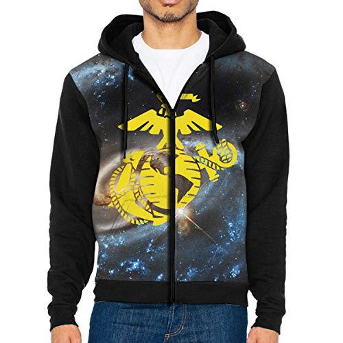 Men's USMC Marine Corps Logo Sportswear Hoodie Full Zip Hooded Sweatshirt Jacket -