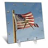 3dRose Danita Delimont - Flags - Arizona. Apache Junction, Betsy Ross US flag, Apacheland Movie Ranch - 6x6 Desk Clock (dc_278469_1)