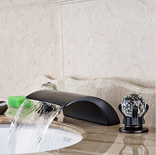 Gowe? Deck Mounted Bathroom Sink Faucet Dual Handles Three Holes Mixer Tap Oil Rubbed Bronze Finished