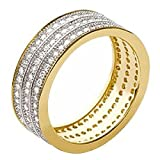 So Chic Jewels - Ladies 18k Gold Plated White Cubic Zirconia Jeweller's Eternity 3 Rows Wedding Band Ring - Size 9