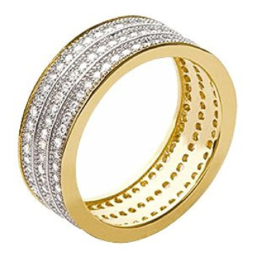 So Chic Jewels - Ladies 18k Gold Plated White Cubic Zirconia Jeweller's Eternity 3 Rows Wedding Band Ring - Size 9 by So Chic Jewels