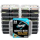 Meal Prep Containers 3 Compartment - 14 Pack Lunch Box Bento Box – Food Storage Portion Control Containers - 21 Day Fix BPA Free, Reusable, Microwave Dishwasher & Freezer Safe