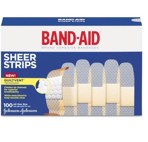 Sheer Strips - BAND-AID Bandages Comfort Sheer 3/4 Inch 100 Each (Pack of 3) by Band-Aid