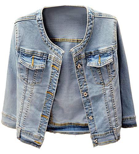 Kedera Women's Collarless Denim Jackets Three Quarter Sleeve Stretch Short Jeans Coat (Blue, X-Large)