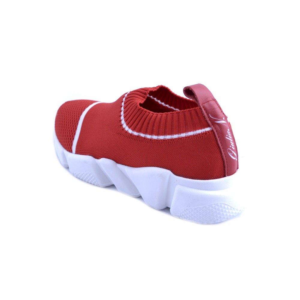 GIULIA N. NATI Sneakers pour Femme Slip-on Modèle de Tricot Rouge avec des Rayures Blanches. Sol antidérapant en Caoutchouc avec Montée. N. 36 xlhAiYte1j