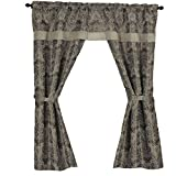 "Classy 5 Piece Medallion Paisley w/ Attached Valance Curtain Set & Pleated Voile (Natural, 55"" x 84"")"
