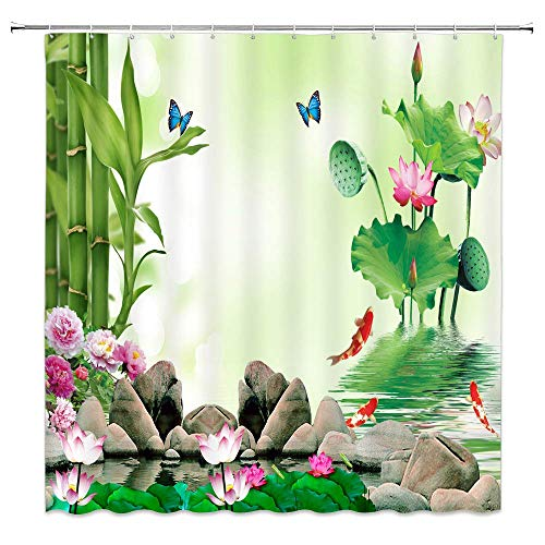 (GOOESING Shower Curtain,Wallpaper Flower Bath Curtain Pink Lotus Peony Green Bamboo Fish Butterfly Pond Scenery Design Curtain Polyester Waterproof Fabric with 12 Rust Proof Hooks,66 X 72 in. )