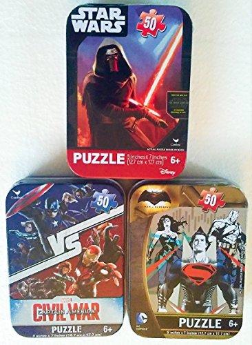 3 Mini Puzzles in Collectible Travel Tin Cases Bundle: Captain America Civil War, Star Wars, Batman vs Superman (with Wonder Woman) Marvel & DC Comics