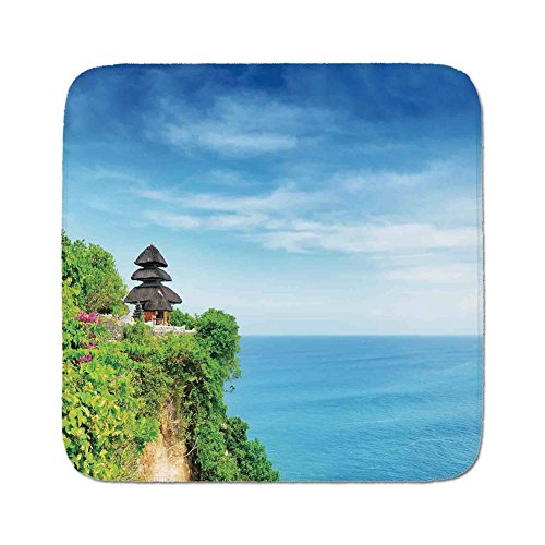 Bali Cushion Cover - Cozy Seat Protector Pads Cushion Area Rug,Balinese Decor,Uluwatu Temple Bali Indonesia Seacoast Cliff Horizon Summer Seascape Nature Picture,Blue Green,Easy to Use on Any Surface
