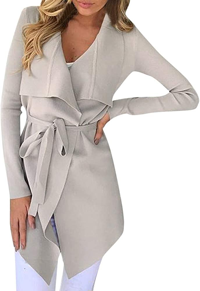 Women/'s Trench Coats Lapel Cardigan Retro Floral Elegant Belt Outwear Overcoat