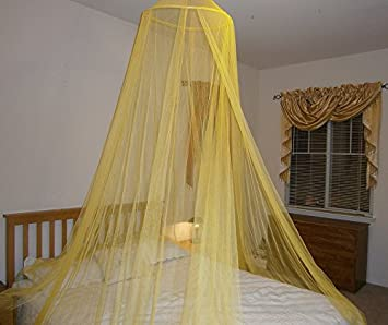 octorose round hoop bed canopy mosquito net fit crib twin full queen - Yellow Canopy Interior
