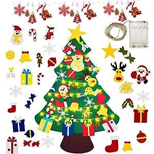 Gudotra Kit Feltro Albero di Natale per Bambini+25pz Ornamenti Velcro Staccabili+ LED Catene Riutilizzabile Regali di Natale Decorazione della Parete Portello Vetrine 11 spesavip