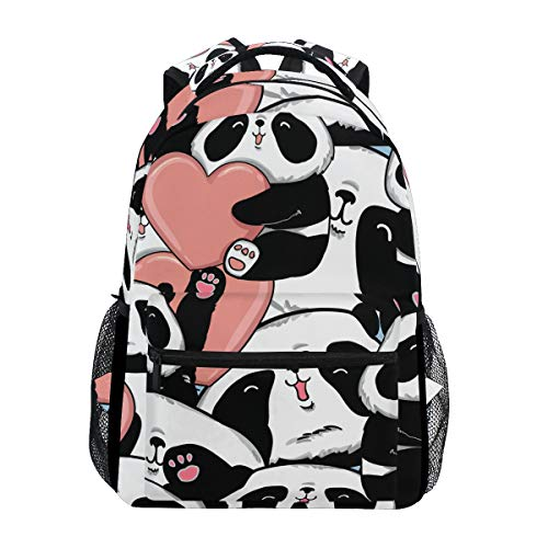 KUWT Valentine Day Animal Panda Heart School Backpack Casual Shoulder Bag College Bookbag Travel Hiking Daypack