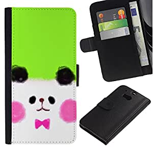 For HTC One M8,S-type® White Puppy Cute Drawing - Dibujo PU billetera de cuero Funda Case Caso de la piel de la bolsa protectora